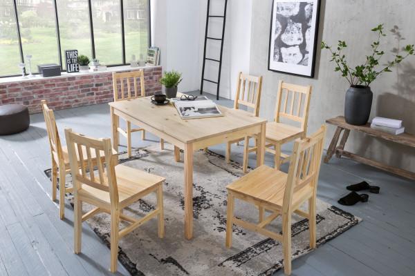 WOHNLING Esszimmer-Set EMIL 7 teilig Kiefer-Holz Landhaus-Stil