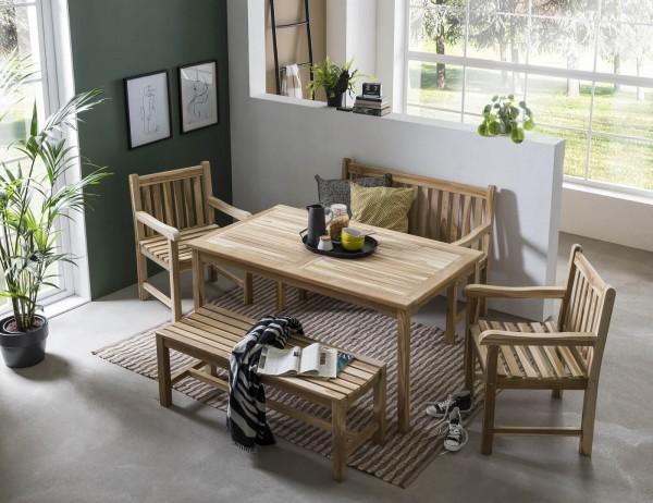 MÖBILIA Gartenmöbel-Set TAJO 5-tlg. Gartengarnitur 2 Armlehnstühle, 2 Bänke, 1 Tisch natur