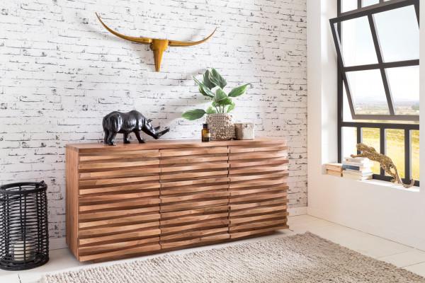 WOHNLING Sideboard KADA Massiv-Holz Akazie Natur Baumkante Anrichte | Landhaus-Stil