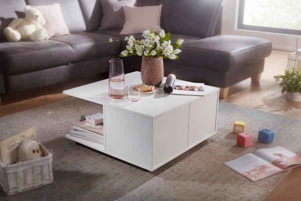 WOHNLING Design Couchtisch 70x70 cm Weiß