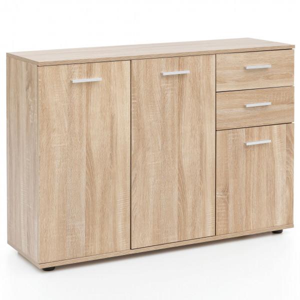 WOHNLING Kommode mit Türen & Schubladen Schrank Sonoma