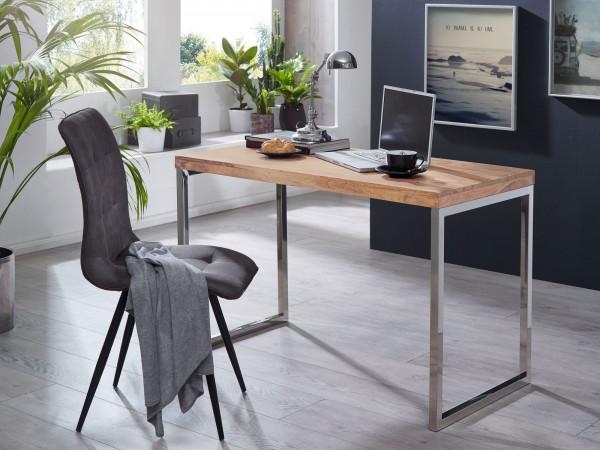 WOHNLING Schreibtisch GUNA Massivholz Akazie Computertisch 120 x 60 cm