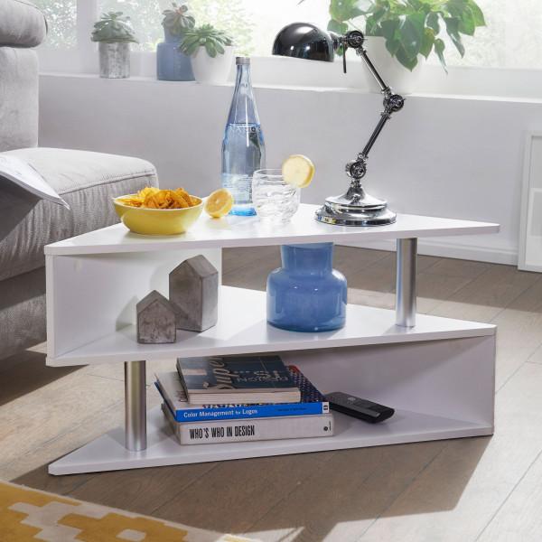 WOHNLING Design Couchtisch 60x60 cm in Weiß