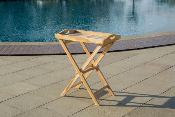 MÖBILIA Serviertisch, 60x40 cm, Teak-Holz mit abnehmbarem Tablett, klappbar natur unbehandelt