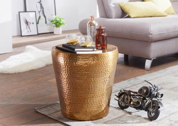 WOHNLING Beistelltisch VIKRAM Aluminium Gold Dekotisch orientalisch rund