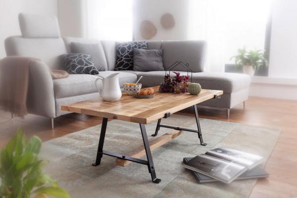 WOHNLING Couchtisch Mango Massivholz 115x42x60 cm Tisch mit Metallgestell