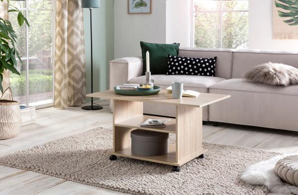 WOHNLING Design Couchtisch Move 95 x 51 x 54,5 cm Sonoma Drehbar mit Rollen | Wohnzimmertisch