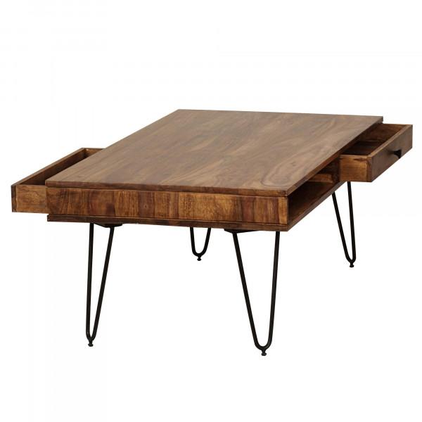 WOHNLING Couchtisch BAGLI Massiv-Holz Sheesham 120 cm breit