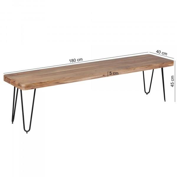 WOHNLING Esszimmer Sitzbank BAGLI Massiv-Holz Akazie 180 x 45 x 40 cm
