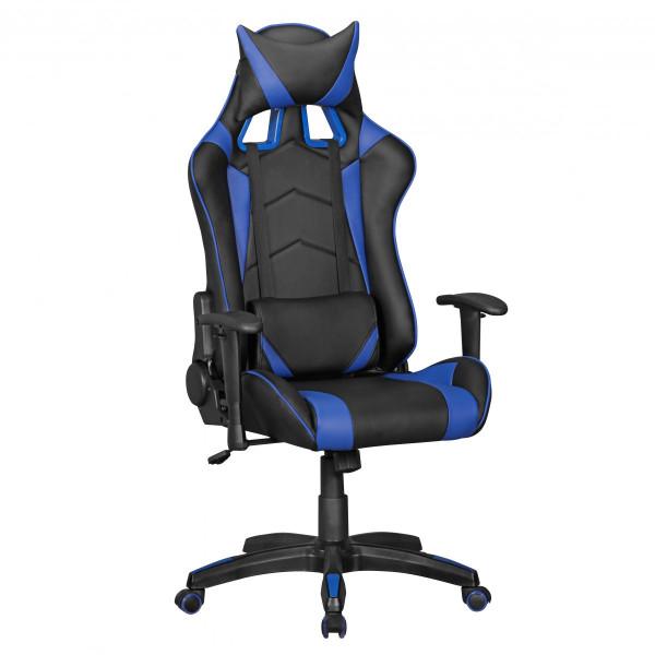 AMSTYLE® SCORE - Gaming Chair aus Kunstleder in Schwarz/Blau| Schreibtisch-Stuhl in Leder-Optik