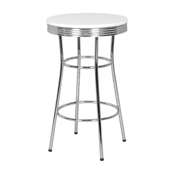 WOHNLING Bartisch rund ELVIS Ø 60 cm American Diner MDF Holz & Alu Stehtisch Design Partytisch Retro