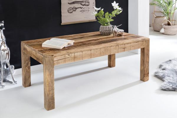 WOHNLING Couchtisch RUSTICA Massiv-Holz Mango Natur | Landhaus-Stil Wohnzimmertisch