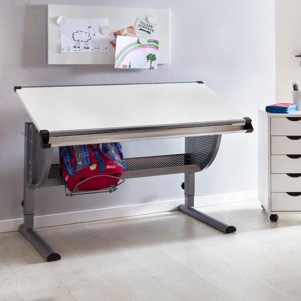WOHNLING Design Kinderschreibtisch MAXI grau / weiß