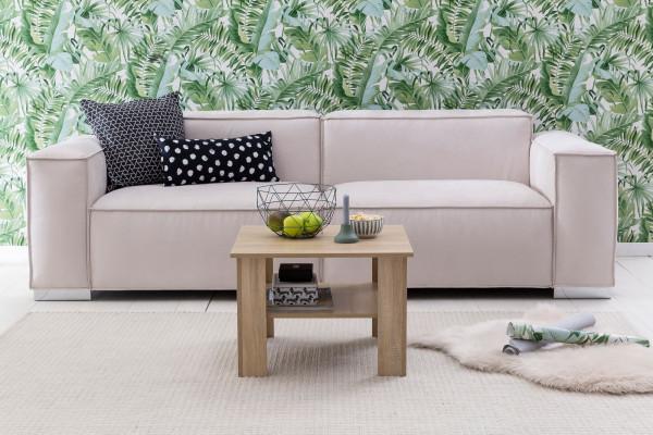 WOHNLING Couchtisch Gina Sonoma Eiche 60x42x60 cm Design Holztisch mit Ablage   Wohnzimmertisch