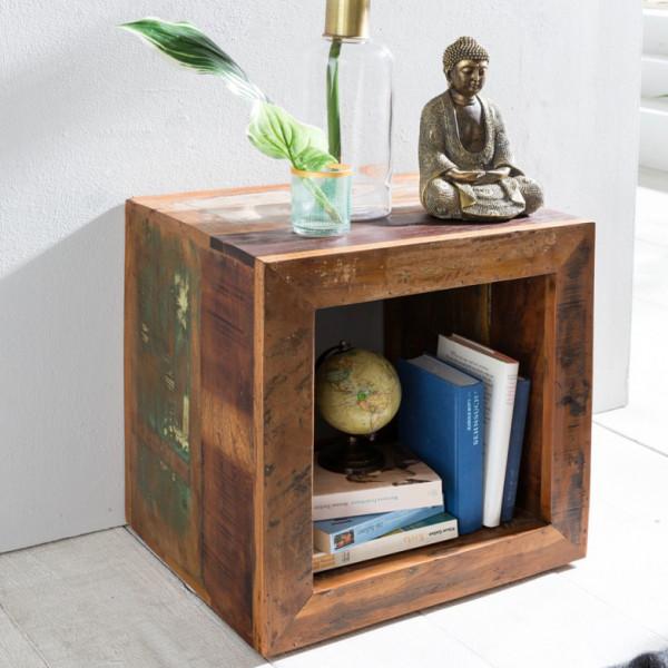 WOHNLING Beistelltisch RIVERBOAT | Massivholz Cube Tisch für Wohnzimmer