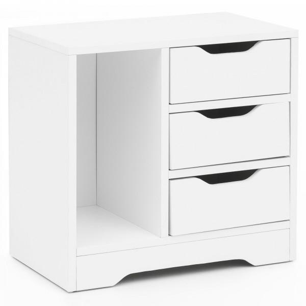 WOHNLING Nachtkonsole Pagus 49x50x30 cm Weiß Matt 3 Schubladen 1 Ablagefach | Weiße Nachtkommode