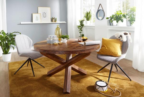 WOHNLING Design Esstisch BOHA rund 120 cm x 75 cm Sheesham Massiv-Holz