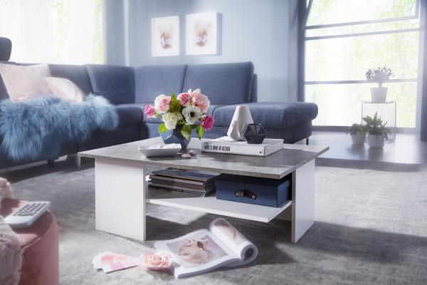 WOHNLING Design Couchtisch 90x35x60 cm Zementfarben / Weiß