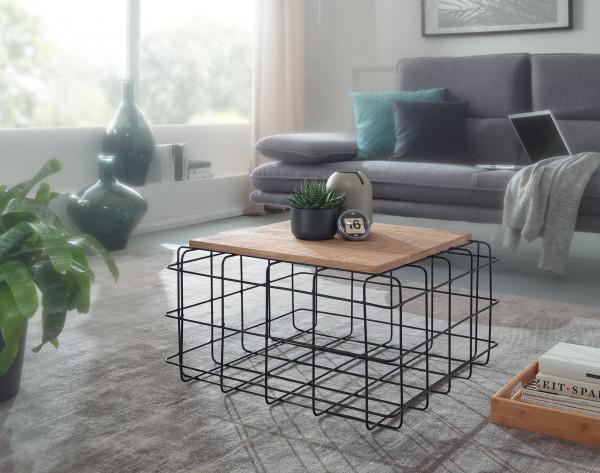 WOHNLING Couchtisch Mango 60x60 cm Massivholz / Metall Gitter Design