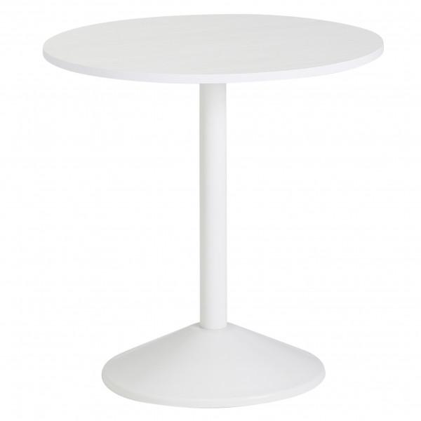 WOHNLING Design Beistelltisch Weiß Holz Optik Rund Ø 48cm | Kleiner Couchtisch