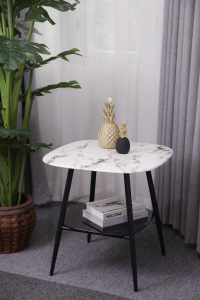 MÖBILIA Couchtisch 55x55 cm Marmoroptik weiß, Ablageboden schwarz, Beine schwarz