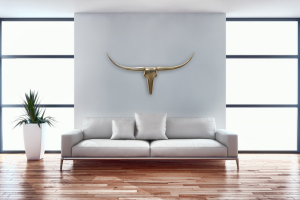WOHNLING Deko Geweih Bull M Gold 100 cm Aluminium