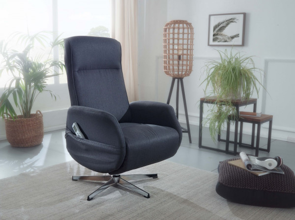 WOHNLING Relaxsessel mit Massagefunktion Dunkelgrau Stoff Ruhesessel Elektrisch Verstellbar