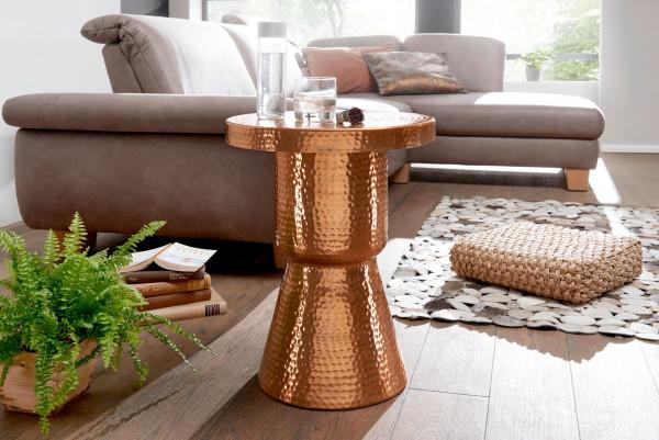 WOHNLING Design Beistelltisch DELYLA 43x59x43 cm Aluminium Kupfer | Dekotisch orientalisch rund
