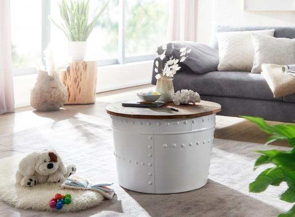 Wohnling Couchtisch Mango 60x40x60 cm Massivholz Metall Weiß Industrial Rund Loungetisch
