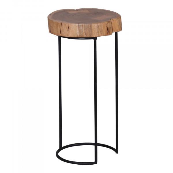 WOHNLING Beistelltisch AKOLA Massiv-Holz Akazie Wohnzimmer-Tisch