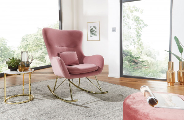 WOHNLING Schaukelstuhl Samt / Metall Rosa mit goldenen Beinen