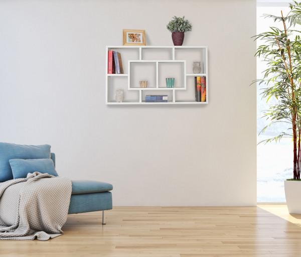 WOHNLING Wandregal ALEX weiß 85 x 47,5 x 16 cm MDF-Holz Hängeregal modern