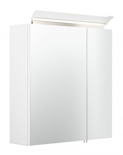 Posseik Spiegelschrank 60 cm inklusive LED-Acrylglaslampe weiß hochglanz