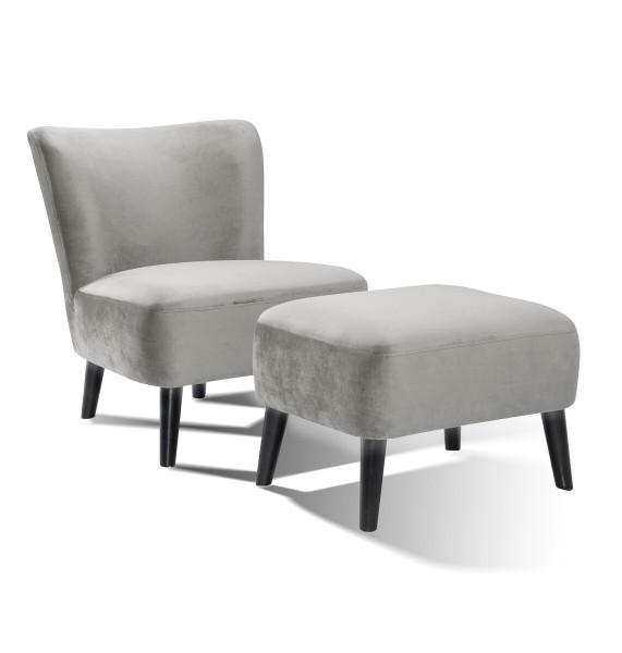 SalesFever Sessel und Hocker Retro Samt grau Hevea Holz