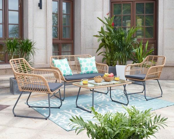 MÖBILIA Gartenmöbel-Set MARIZA 7-tlg. 2 Stühle, 2 Sitzkissen, 1 Bank, 1 Bankauflage, 1 Couchtisch na