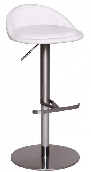 WOHNLING Barhocker Weiß Edelstahl höhenverstellbare Sitzhöhe 54-79 cm