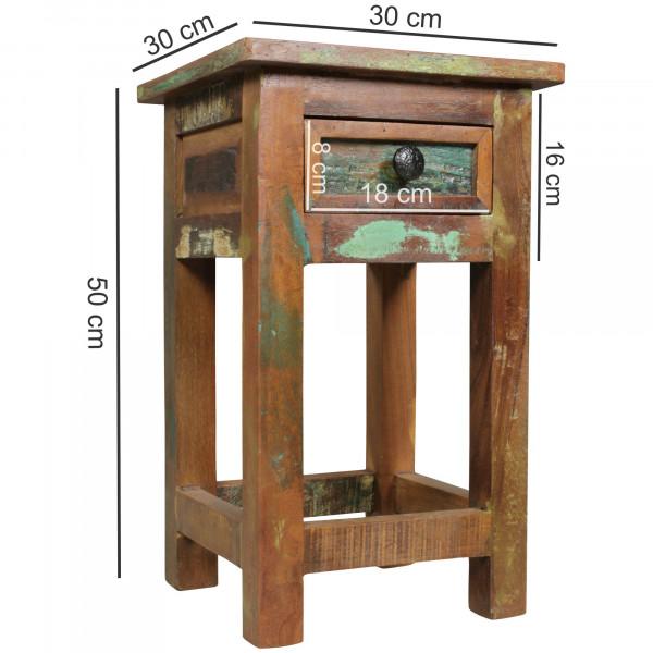 WOHNLING Beistelltisch RIVERBOAT | Massivholz Nachtkonsole mit Schublade | Nachttisch
