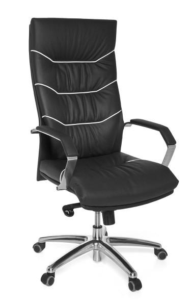 AMSTYLE Bürostuhl FERROL Echt-Leder schwarz Schreibtischstuhl | Chefsessel mit Kopfstütze