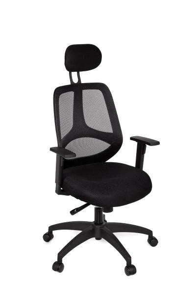 AMSTYLE Bürostuhl SPM1.121 DELUXE Stoffbezug Schreibtischstuhl Armlehne schwarz Chefsessel 120 kg