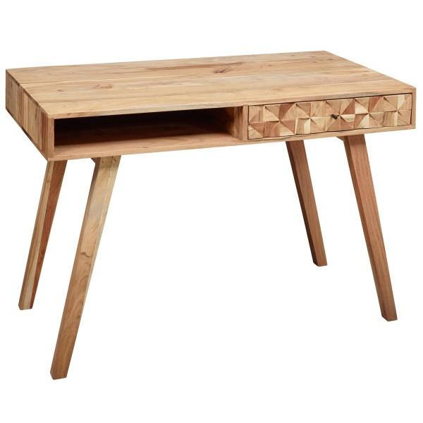WOHNLING Schreibtisch REWA 115x77x60 cm Akazie Massivholz PC Tisch Klein | Design Computertisch Holz