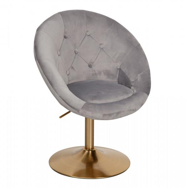 WOHNLING Loungesessel Samt Grau / Gold Design Drehstuhl