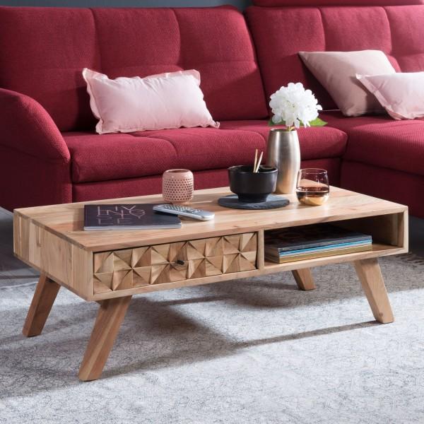 WOHNLING Couchtisch REWA 95x35x50cm Akazie Massivholz Sofatisch   Design Wohnzimmertisch