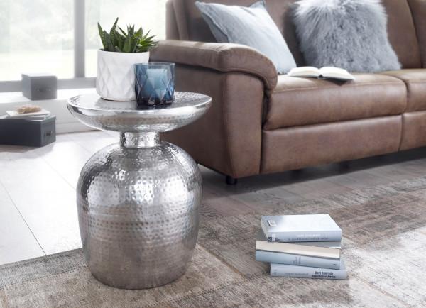 WOHNLING Beistelltisch DELYLA Aluminium Dekotisch Silber orientalisch rund