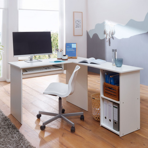 WOHNLING Design Schreibtischkombination 140 x 75,5 x 120 cm Weiß