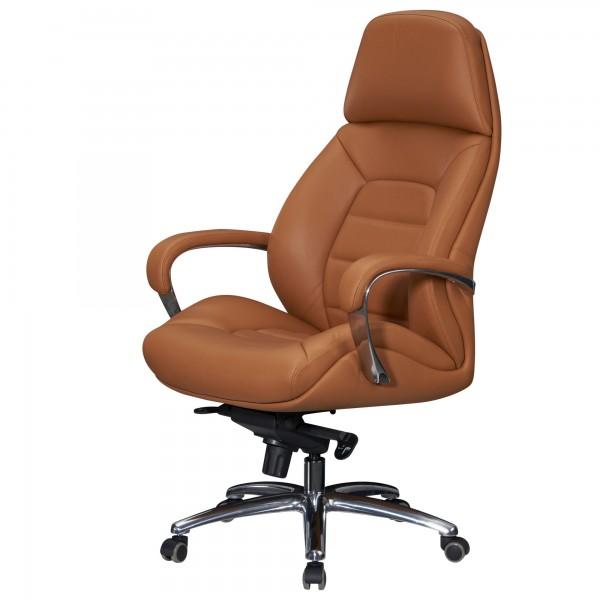 AMSTYLE Designer Bürostuhl Bezug Echtleder Caramel Schreibtischstuhl Chefsessel höhenverstellbar