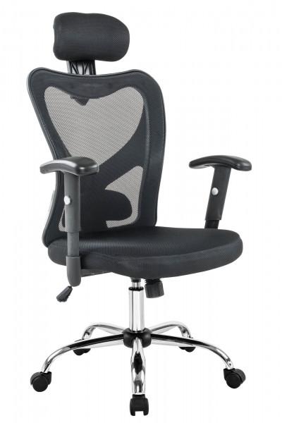 Bürostuhl schwarz mit Kopstützen aus Mesh
