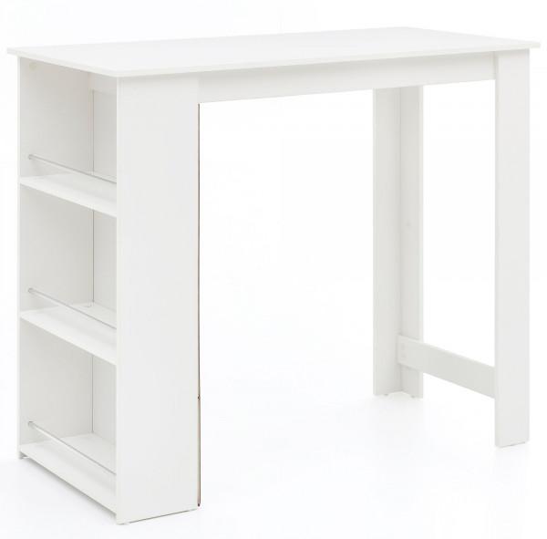 WOHNLING Bartisch Tabby Weiß 120 x 107,5 x 60 cm Stehtisch Küchenbartisch | Bartresen