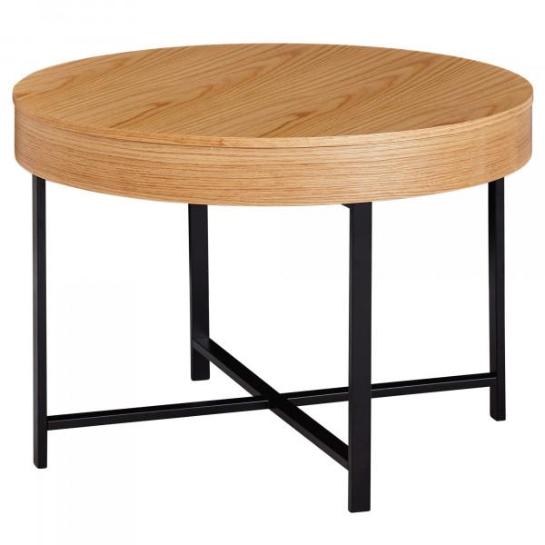 WOHNLING Design Couchtisch Rund Ø 69 cm mit Eichen Optik Tisch mit Stauraum | Lounge-Wohnzimmertisch