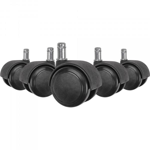 AMSTYLE 5er Set leichtgängige Hartbodenrollen für Bürostuhl 11 mm Stift / Durchmesser 50 mm | Schwar