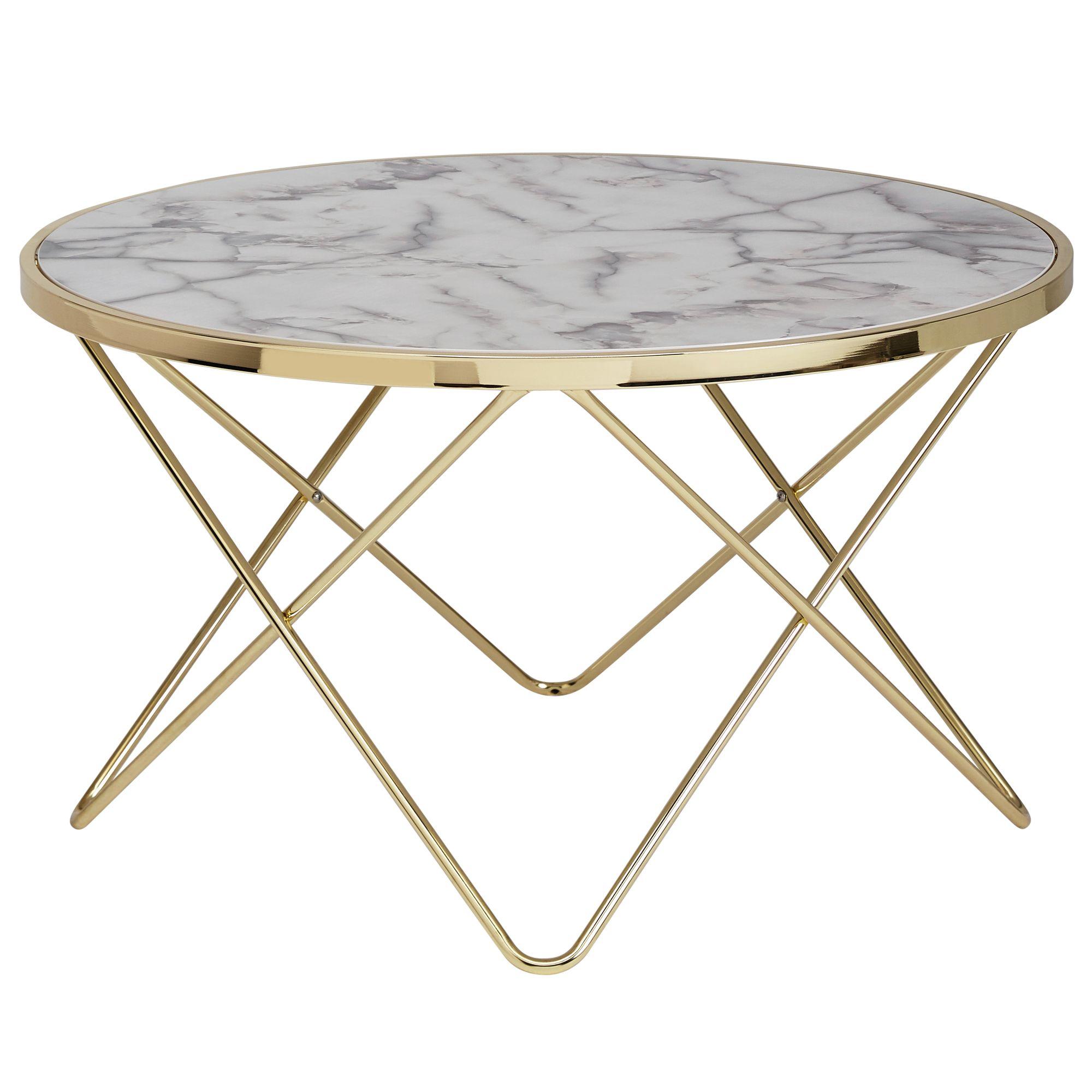 wohnling design couchtisch marmor optik wei rund 85 cm gold metall gestell